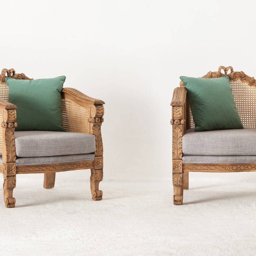 country sandblasted armchairs with Romo Linens 6000 for the pair A Pair Of English Country Armchairs